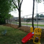 backyard chain link fence