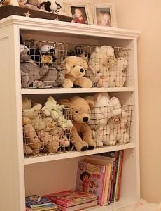 organize, toys, bookshelf, wire, bins