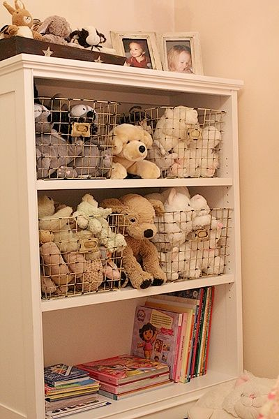 One great idea I found is using wire bins to store stuffed animals on ...