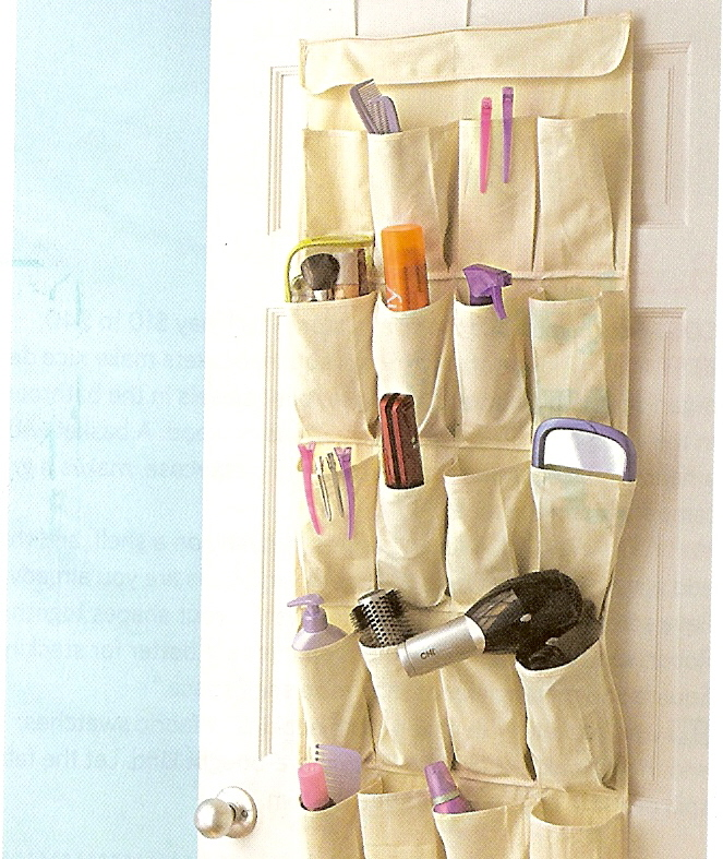 shoe bag used for storage in a linen closet
