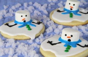 melting, snowman, cookie, christmas, icing, sugar