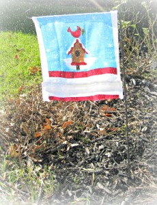 Homemade $1 Garden Flag