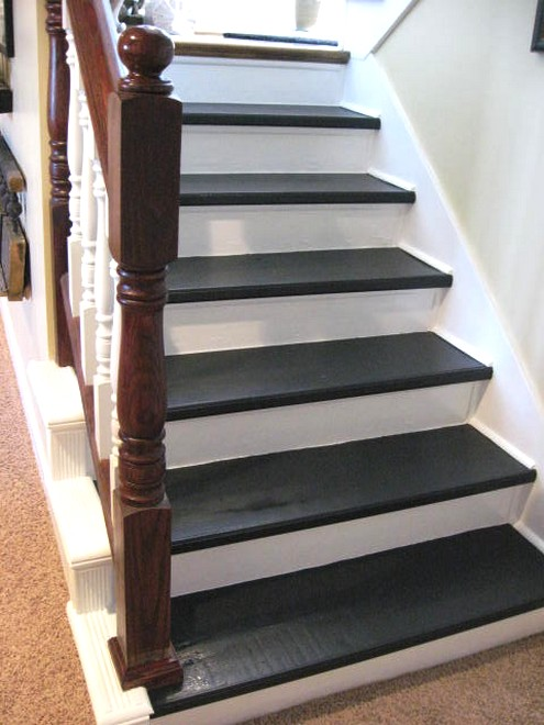 painted wood stairs painted wood stairs from southern hospitality blog have any cheap basement remodeling ideas