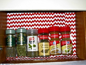 spice drawer, red and white chevron