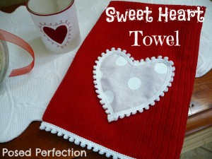 dish towel, red, valentine