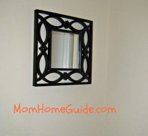 mudroom, foyer, black, scroll mirror