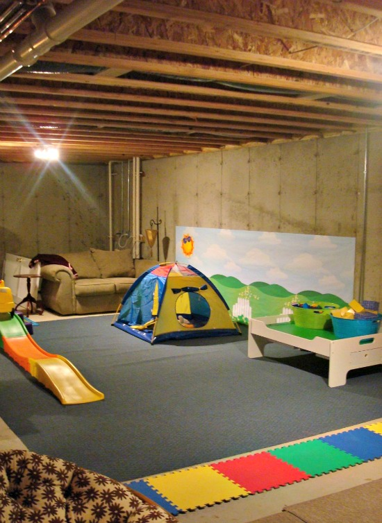 An unfinished basement playroom Playroom flooring ideas