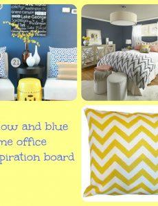 inspiration board, picmonkey, yellow, blue, home office