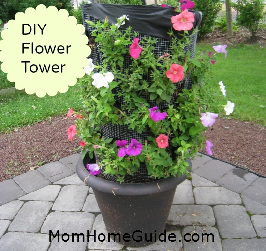 garden, container, DIY, petunia, flower tower
