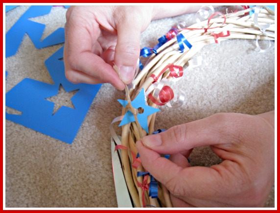 craft, dollar store, grapevine, patriotic, fourth of july wreath