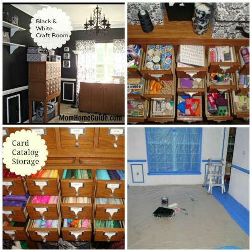 craft room, before, after, storage, card catalog