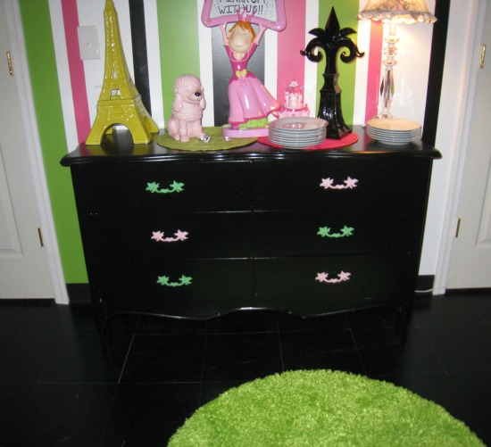 black, painted dresser, color, drawer pulls
