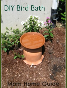 DIY, how to, bird bath, clay pot