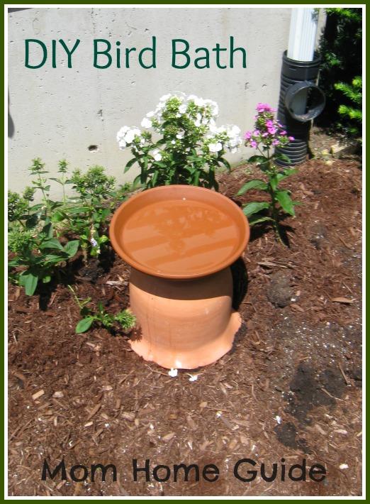 DIY, bird bath, how to, clay, pot