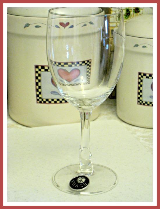 wine glass peace charm