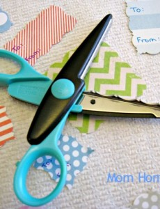 scallop, scissor, scrapbook, paper, gift tag
