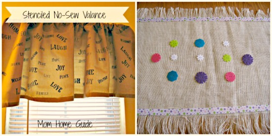 burlap, table runner, valence, stencil