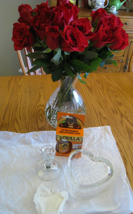 dollar store, candle holder, centerpiece, valentine's day
