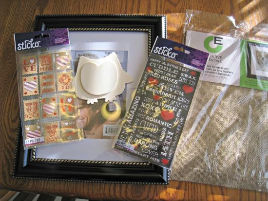 collage, supplies, burlap, stickers, valentine's day