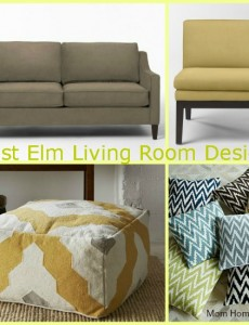 West Elm Yellow, Brown and Gray Living Room