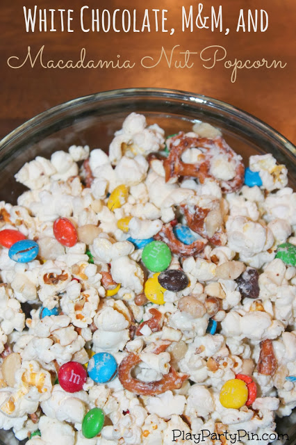 white chocolate, m&m, pretzel popcorn
