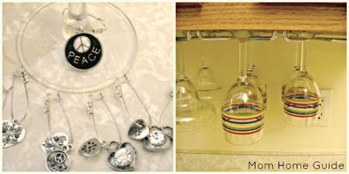 wine glass, rack, charms