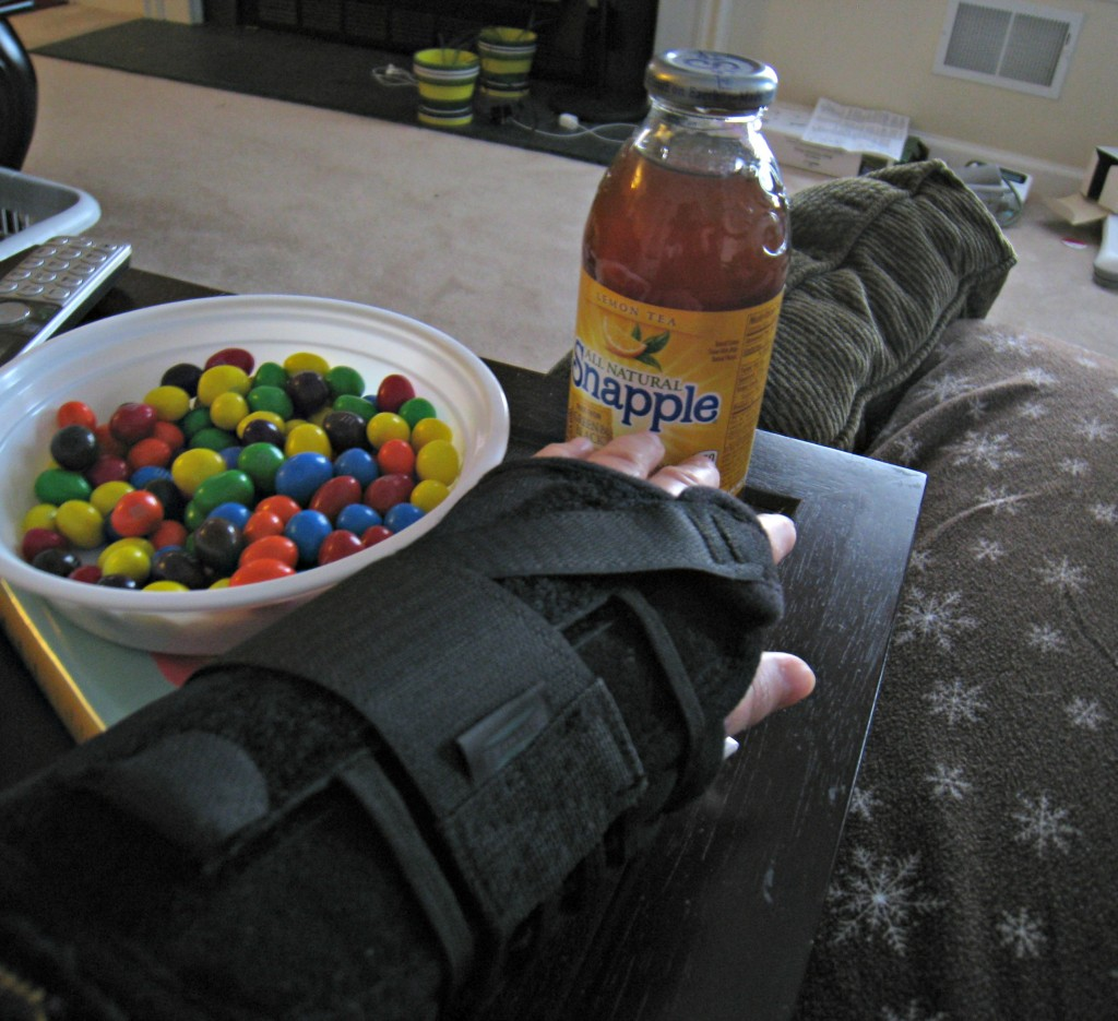 broken wrist, snapple, peanut, m&m