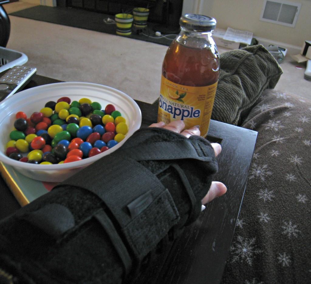broken wrist, snapple, peanut, m&m