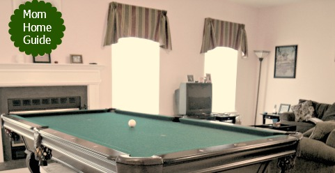 family room, pool table, curtains