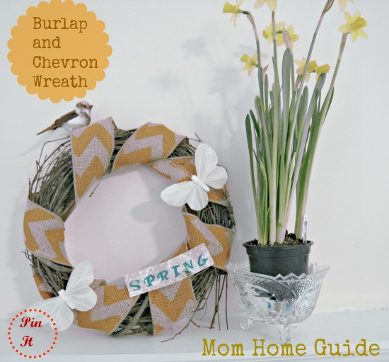 spring, grapevine, wreath, burlap, chevron, bird, butterfly