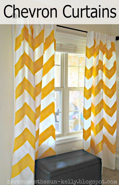 yellow, white, chevron curtains, diy