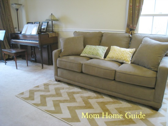 living room, piano, Mohawk Home rug, La-Z-Boy sofa