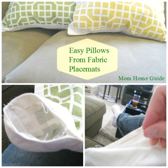 Easy DIY Placemat Pillow / by Mom Home Guide / at The Everyday Home / www.everydayhomeblog.com