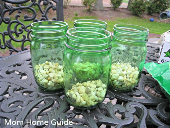 mason jar, planters, gravel