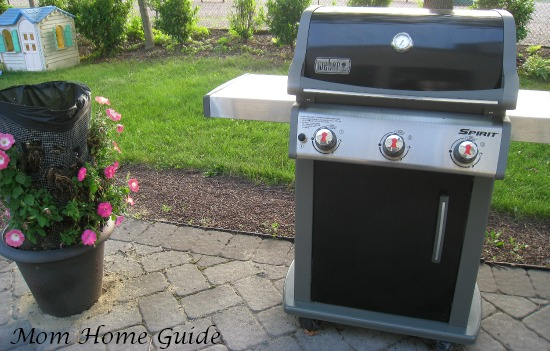 weber, grill, paver, patio, flower, container, garden, tower
