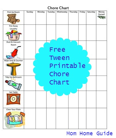 free, printable, chore, chart, kids, tween