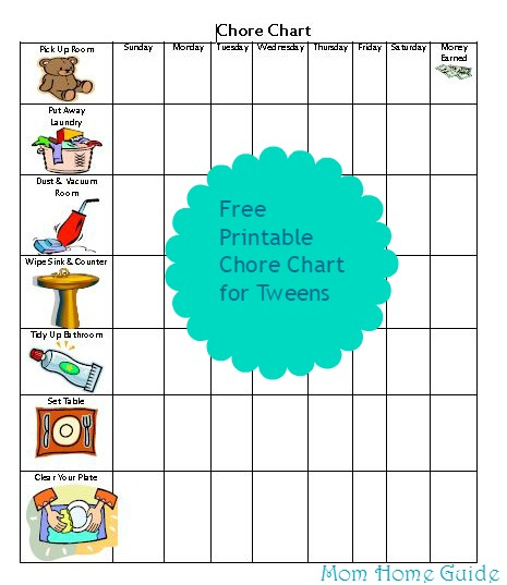 free, printable, chore, chart, tweens, older, kids