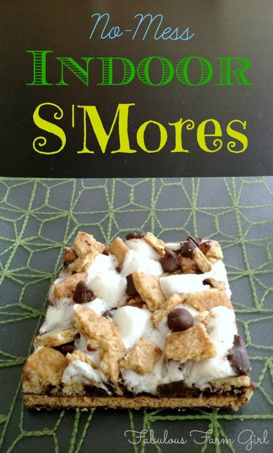 indoor s'mores with graham crackers, marshmallow and chocolate