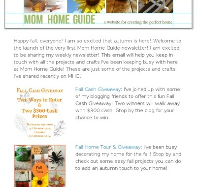 Subscribe to Mom Home Guide's New Weekly Email!