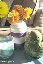 yarn flower and vase decor