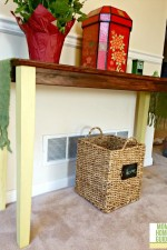 Console painting in Annie Sloan chalk paint in English Yellow and Old White
