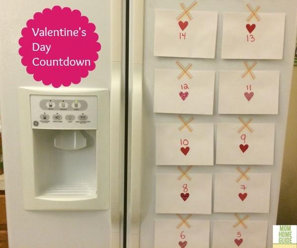 Washi tape Valentine's Day countdown for the fridge