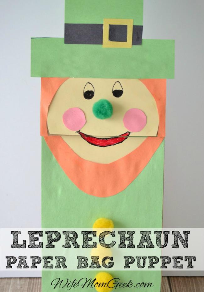 paper bag leprechaun puppet