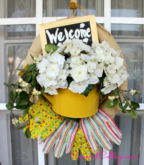 welcome spring garden wreath