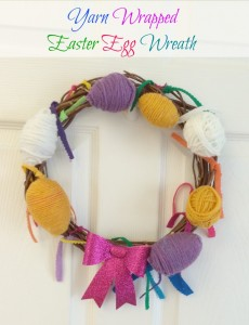 yarn wrapped easter egg wreath