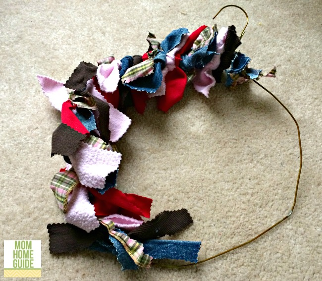how to make a wire hanger rag wreath
