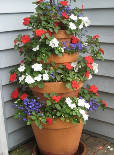 terracotta, pots, flower, tower