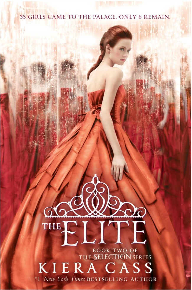 the elite by Kiera Cass. America is one of six girls left in the running for the heart of Prince Maxon. Reminds me of The Bachelor!