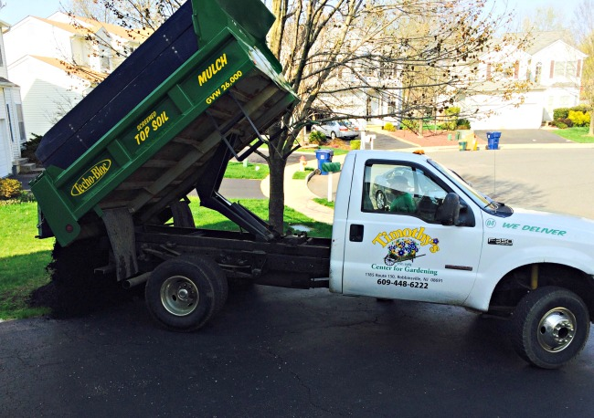 mulch truck delivery for garden