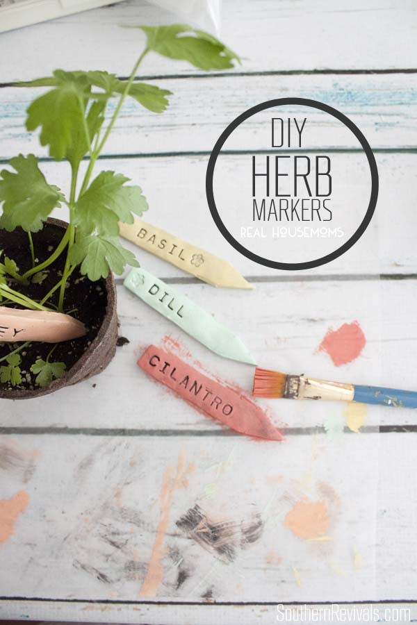 diy stamped clay herb markers